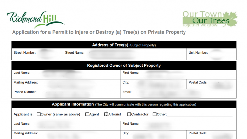 Permit Application to injure or destroy a tree in Richmond Hill